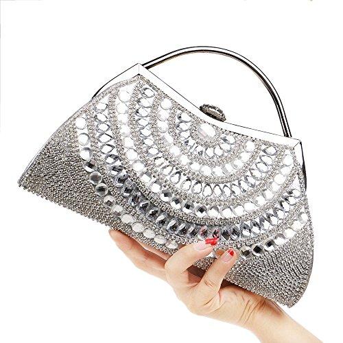 Sac De Sac Main Diamant Mariage Main De à Bandoulière Soirée Bal Silver Sac De D'embrayage Sacs Scintillant Avec Des Chaîne à Femmes Sac De fwfU7q6r
