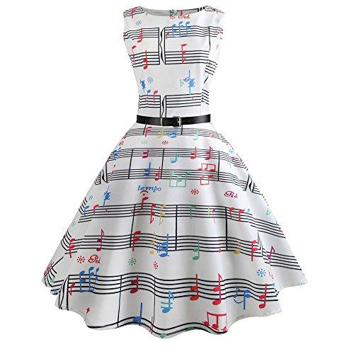 HGWXX7 Women Print Sleeveless Evening Party Prom Swing Hepburn Dress with Belt (S, White-Multicolor)