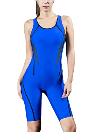 6b6d7bf2f6eaa Romacci Women Professional Sports One Piece Swimsuit Racing Competition  Full Brief Knee Bathing Suit Black/Royal Blue/Dark Blue: Amazon.co.uk:  Clothing