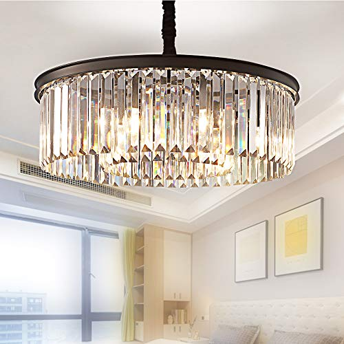 Meelighting Crystal Chandeliers Modern Contemporary Ceiling Lights Fixtures Pendant Lighting Dining Room Living Room Chandelier D21.6 H7.1