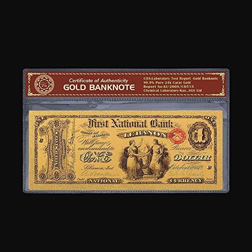 ZYZRYP 24金メッキメッキ紙幣カードカラフルな手形フェイクマネー1875年1ドル箔通貨紙幣コレクション工芸ギフト 使いやすい (色 : A)