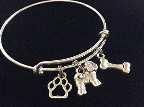 Bichon Frise 3D Dog with Bone and Paw Print Expandable Charm Bracelet