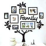 TECHBITE Paper Plane Design Wooden Family Tree Set (Black D4, wooden_frame_family_01_C4) - Pack of 13 Piece