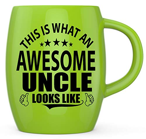 Fathers Day Best Novelty Gifts for The World's Most Awesome Uncle Ever - Funny And Crazy Gifts for The Greatest Uncles - Gag Gift Ceramic Coffee Mugs Tea Cup for Birthdays or Christmas (Yellow Green)