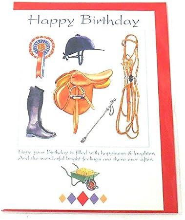 Tarjeta del feliz cumpleaños caballo y jinete: Amazon.es