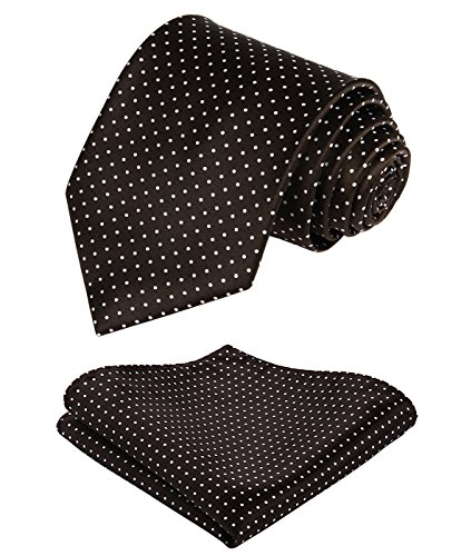 - Enmain Mens Tie Dot Necktie and Pocket Square Set for Wedding Party Brown