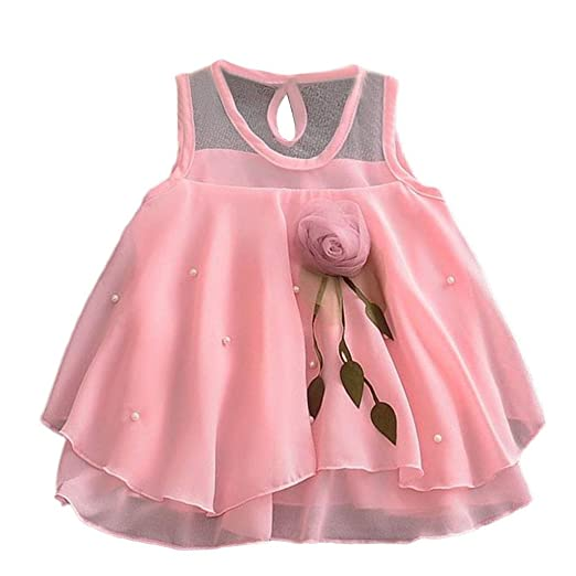 e4f37af0aa8 Tronet Girls Dress Infant Baby Girls Sleeveless Solid Tulle Skirt Flowers  Party Princess Dresses (3