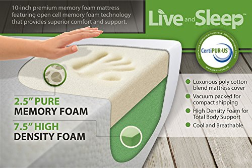 Live & Sleep Resort Classic - RV Short Queen Memory Foam Mattress - 10-Inch Bed in a Box - Medium Firm, Bonus Pillow, CertiPUR Certified - Trailer/Camper/Trailer, Motorhome, RV Short Queen Size