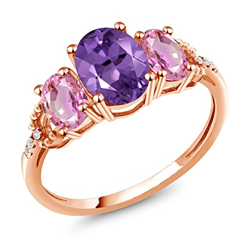 - Gem Stone King 2.14 Ct Oval Purple Amethyst Pink Sapphire 10K Rose Gold Diamond Accent Ring (Size 7)