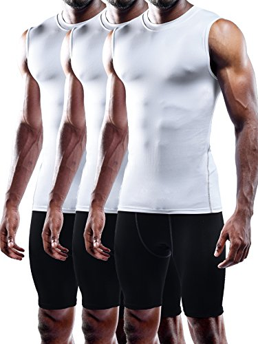 Neleus Men's 3 Pack Compression Wear Sport Athletic Sleeveless Tank Top,02,White,XL,Tag 2XL (Mens Sports Wears)
