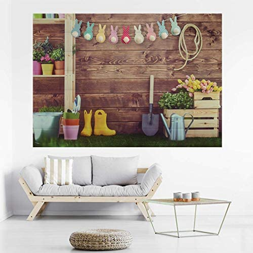 New Easter Theme Pictorial Wood Wall Photography Backdrop for Studio Photobooth Children Portrait Background Props 7x5ft xt-6469-D-6171