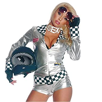 54452c89ad3d Amazon.com: 3pc Sexy Fast Foxy Biker Chick Halloween Costume M L ...