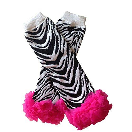 Joyci Optional Zebra Dot Rainbow Print Tutu Chiffon Ruffle Leg Warmers for Infant Baby Toddler Girls Kids (White zebra red Ruffle)