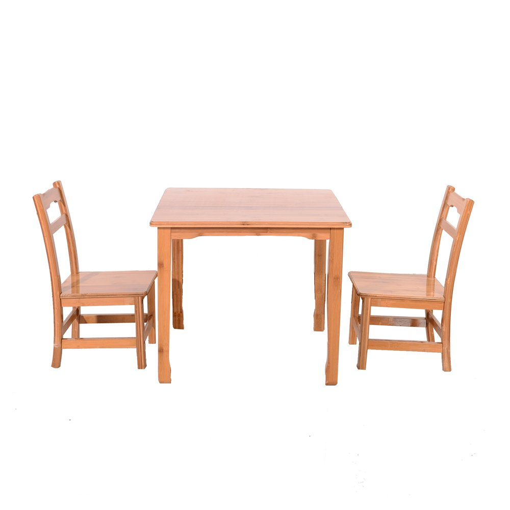 Azadx Bamboo Table and 2 Chairs Set - Kid's Furniture for Playing Reading Drawing Writing Eating Wood Color by Azadx (Image #1)