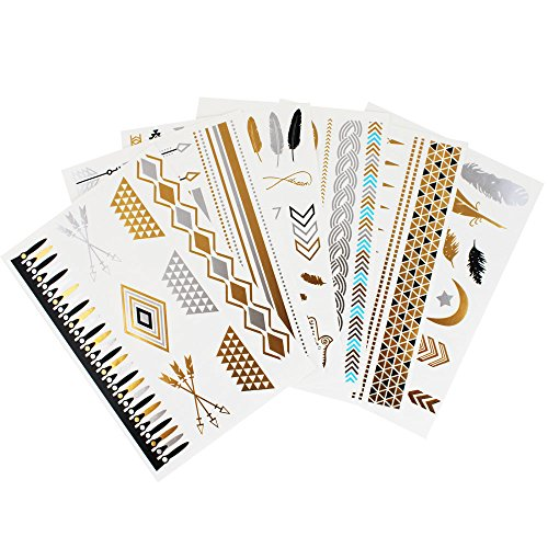 Flash Temporary Metallic Tattoos – Gold & Silver Jewelry Designs - 6 Sheets Pack (Inspired Jewelry Celebrity)