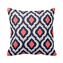 Gray,Coral Pink and Navy Blue Moroccan Pillow Home Sofa Decorative 18X18 Inch Square Throw Pillow Case Decor Cushion Covers
