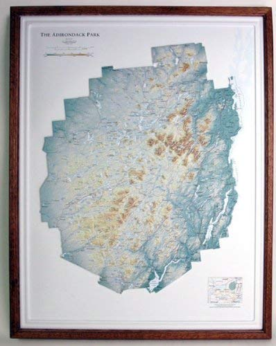 ADIRONDACK STATE PARK (a New York State Park) Raised Relief Map with Oak Wood Frame