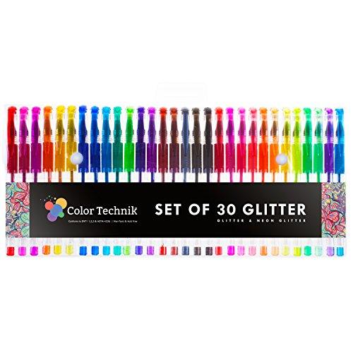 Glitter Gel Pens by Color Technik, Set of 30 Glitter Pens, Best Assorted Colors, Now with More Ink. Large Glitter Set on Amazon, Enhance Your Adult Coloring Book Experience Now! Perfect Gift Idea! - Stadium Stand