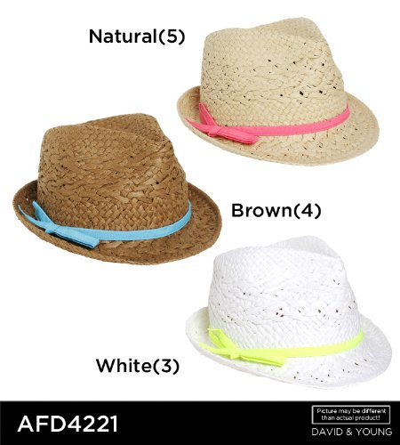 David   Young Fedora Special Weave with Neon Grosgrain Band (White ... b3c47bf3d63