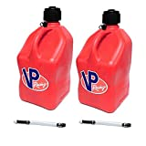 2 Pack VP 5 Gallon Square Red Racing Utility Jugs with 2 Deluxe Filler Hoses