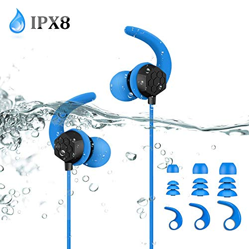 AGPTEK Waterproof Earbuds for Swimming, IPX8 Secure Fit in-Ear Earphones with Stereo Audio Extension Cable, Blue(SE14)