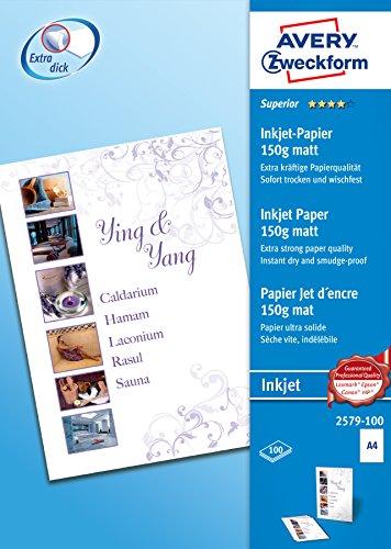 Avery Zweckform 2579-100 Superior Inkjet Papier (A4, einseitig beschichtet, matt, 150 g/m²) 100 Blatt