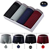Men's Underwear ice Silk mesh Shorts Summer Thin Thin Dry Underwear Men Breathable Comfort Sexy Trousers Flat Pants (US- XX-Large/40 - 42'', Black&Grey&Royal Blue&red)