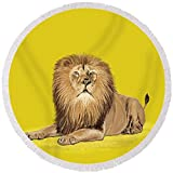 Pixels Round Beach Towel With Tassels featuring ''Lion Painting'' by Setsiri Silapasuwanchai