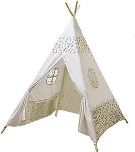 ACTNOW Tienda India Tipi, Tienda Campaña Infantil para niños/Casa de Juego de Lona de algodón + Madera de Pino - Dibujo Estrella: Amazon.es: Juguetes y juegos