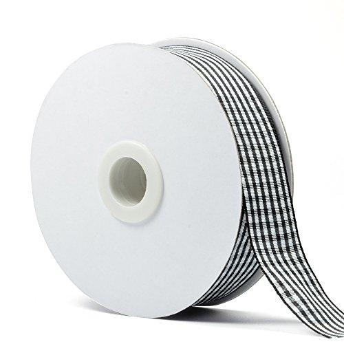 Micomon Black Gingham Woven Edge Ribbon 25 Yards per Spool,Checked Crafts 1 inch Wide(1