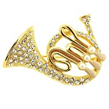 French Horn Brooch Pin 1.75'' with Detailed Crystal Accents