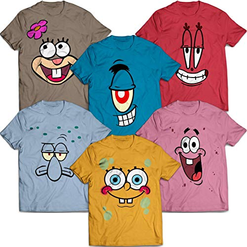 Sponge Bob-and-Friends Funny Matching Group Halloween Costume Idea Customized Handmade T-Shirt Hoodie/Long Sleeve/Tank Top/Sweatshirt -