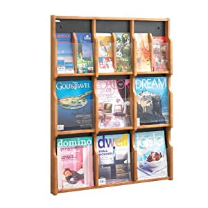 Safco Products 5702MO Expose Literature Display, 9 Magazine 18 Pamphlet, Medium Oak/Black