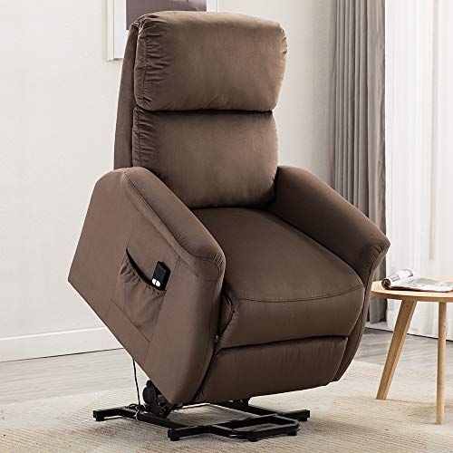 Bonzy Home Power Lift Recliner Chair, 3 Position & Side Pocket, Soft Fabric Sofa with Remote, Lift Chair for Elderly, Recliner Chair for Home Theater Seating, Living Room & Bed Room (Brown) (Best Lift Chairs For Elderly)