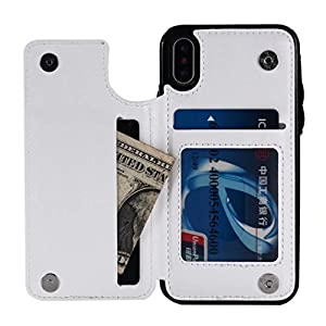 DDLbiz Case For Iphone X, Magnetic Leather Wallet Case Card Slot Shockproof Flip Cover For iPhone X (White)