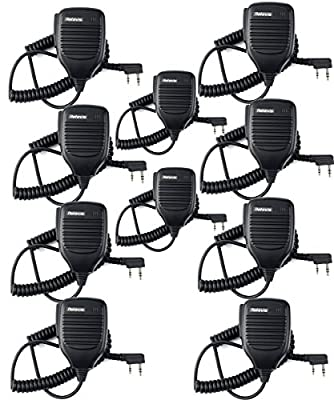 Retevis Handheld Remote Speaker Mic Headset 2 Pin for Baofeng UV-5R/UV-5RA/888S/KENWOOD Retevis H777/RT-5R/RT21 2 Way Radio (10 Pack) from Retevis