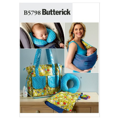Butterick Patterns B5798OSZ Baby's Changing Pad Sewing Pattern, Neck Support, Carrier and Diaper Bag, Size One Size