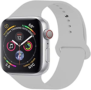 Compatible with Apple Watch Band 38Mm 40Mm 42Mm 44Mm,Sport Silicone Soft Replacement Band Compatible for Apple Watch Series 4/3/2/1,Gray,38/40