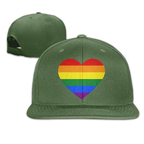 Yishuo Mens Rainbow Heart Lesbian Pride LGBT Pride G Casual Style Hip-Hop ForestGreen Hat Adjustable Snapback