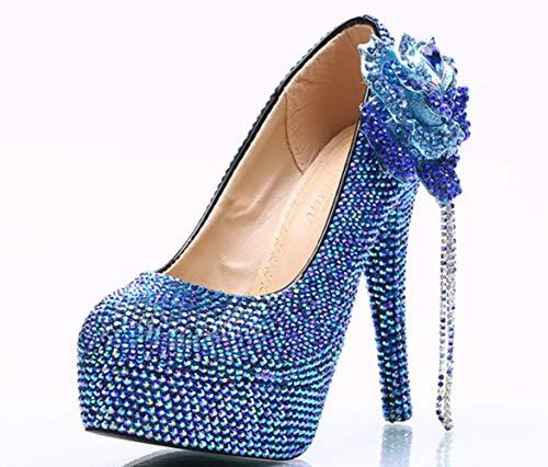 Ab Shiney Heel De Tamaño Mujeres High 11cm Del Grande La Grandes Club Super Zapatos Azul Nocturno Diamante Boda Las PRqxwCPBp