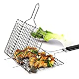 DREAM COSMOS BBQ Grill Basket Fish Grill Grids Basket Portable Non-Stick Strong Iron BBQ Grill Clip Net Grilling Vegetables Basket Pan Useful BBQ Tools with Heat-Resistant Handle