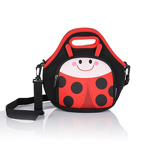CASTLE STORY Lunch Boxes Kids,Waterproof and Insulated Neoprene Lunch bag for girl,Fresh and Fit Children Lunch Pouch Zipped Main Compartment For School Picnic (Ladybug)
