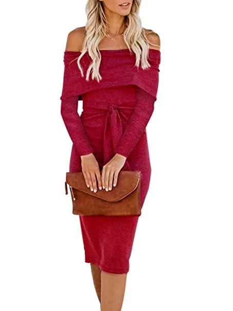 0bba176d6c4 Chatinction Womens Sexy Off Shoulder Fit Dress Slim Long Sleeve Bodycon  Cocktail Party Midi Dress with Belt S-XL at Amazon Women s Clothing store