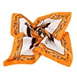 Grace Scarves 100% Silk Scarf Petite Square Charmeuse Royal Equestrian Orange