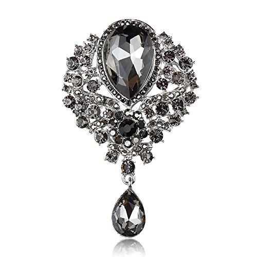 JewelBeauty Women's Crystal Silver-Tone Bouquet Flower Teardrop Large Gorgeous Bouquet Brooch Pin (Black) ()