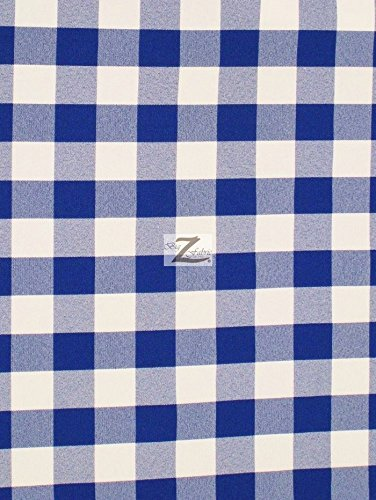 CHECKERED GINGHAM 100% POLYESTER POPLIN FABRIC - Royal Blue - 57