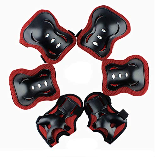 Satisfounder Elbow and Knee Pads Set Wrist Guard for Kids Boys Thickened Design Skating Biking Bicycle Protective Gear -Six-Piece Set