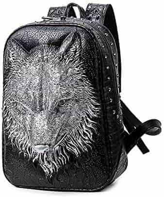 d5f0df4f106b 3d wolf head backpack male rivet personality school bag outdoor travel  sports computer Waterproof shockproof animal