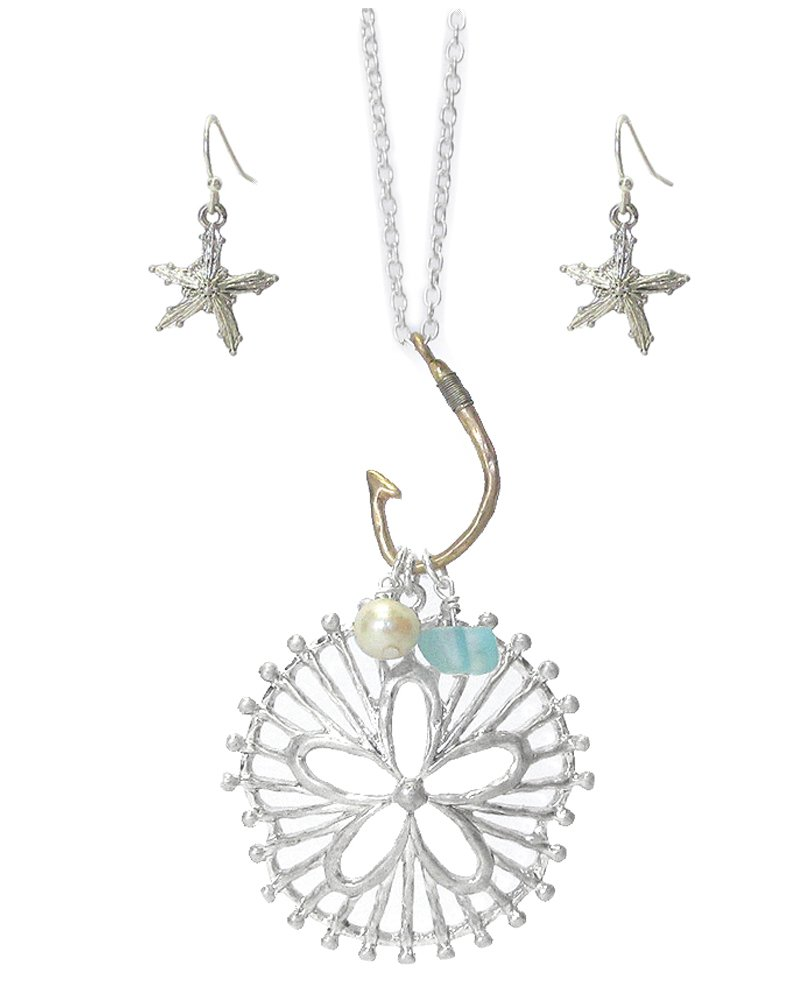 Fashion Jewelry ~Metal Filigree Sand Dollars Pendant Long Necklace and Earrings Set (Silvertone)