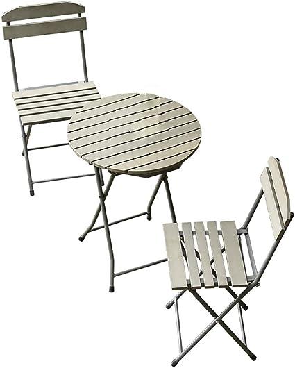 LL-ZY Conjunto Plegable de 1 Mesa y 2 sillas para Terraza Jardín ...
